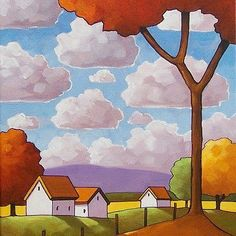 11x14-Red-Tree-Countryside-ORIGINAL-FOLK-ART-LANDSCAPE-ABSTRACT-PAINTING-Horvath