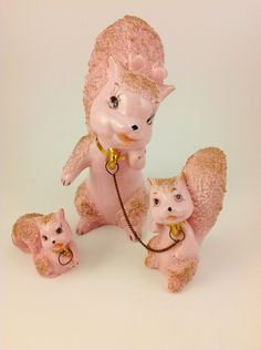 Vintage 1950's Pink & Gold Ceramic Squirrels Spaghetti Ware