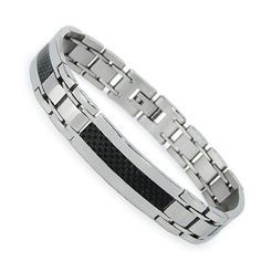 """Men's Stainless Steel Bracelet with Carbon Fiber Inlay 8"""" can be sized Metal Masters Co.. $26.99"""