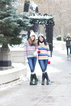 winter fashion, winter layers, wool coats, hunter boots, winter brights, fair isle sweater, striped sweater, best friends, quality over quantity, less is more, true friendship, Chicago
