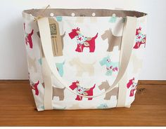 Scottie dog shoulder bag medium size tote bag lined canvas Handmade Products, Handmade Items, Handmade Gifts, Medium Tote, Medium Bags, Scottie Dog, Small Businesses, Purses And Bags, Diaper Bag