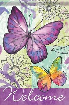 Welcome Purple Butterfly Garden Flag House Decor Double-sided Yard Banner Butterfly Watercolor, Butterfly Wallpaper, Watercolor Paintings, Welcome Pictures, Welcome Images, Purple Butterfly, Butterfly Art, Side Garden, House Flags