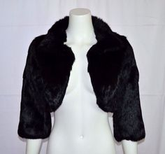 BLACK RIVET Natural Real Black Rabbit Fur Coat Open Opera Jacket Small S Bolero…