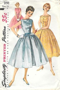 Simplicity 1191 Sewing Pattern - Junior Misses One-Piece Dress  - This charming fashion features a wide rounded neckline - Full skirt has soft pleats or gathers - Skirt, all views has an inverted pleat over center front and back seams   Misses 11, 13 or 14 Bust - 29, 31 or 32 in Waist - 23.5, 25 or 26 in Hip - 32, 34 or 35 in  Copyright - 1955 Pattern Pieces - 6 Condition - All three patterns are complete, cut and in good shape. The 14 has one torn piece taped together. Please note the…