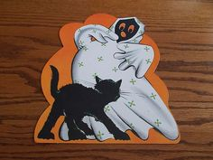 """Vtg 12"""" Made in USA Halloween Ghost Cat Die Cut Cardboard Decoration Cut Out   eBay Ghost Cat, Die Cut, Halloween Ghosts, Vintage Halloween, Snoopy, Ebay, Fictional Characters, Decor, Art"""