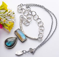 Modern Rustic Silver Labradorite Necklace by EONDesignJewelry