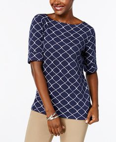 Image 1 of Karen Scott Cotton Elbow-Sleeve Top, Created for Macy's
