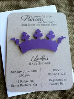Princess Tiara - Crown Invitation - 3D - Baby Shower - Birthday - Purple - Pink - Birthday - Announcement - Girl - Recycled - Eco Friendly