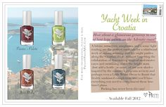 Priti NYC 'Yacht Week in Croatia' Fall 2012 Nail Polishes - Priti NYC used Croatia as inspiration for the fall 2012 collection. Check out the new tones from the 'Yacht week in Croatia' nail polish line. Organic Skin Care Lines, New Tone, Yacht Week, Vegan Nail Polish, Cosmetic Companies, Clean Beauty, Croatia, Bath And Body, Nails