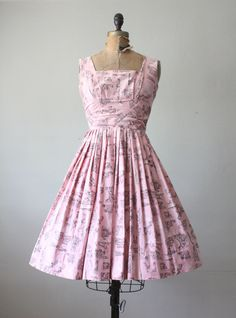 1950's  architecture print party dress