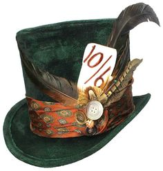 Tall Green Top Hat Mad Hatter Steampunk Gypsy by JenkittysCloset