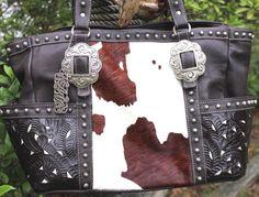 American West Brown Leather Cow Hide Silver Grommet Tote Southwestern Handbag #AmericanWest #tote
