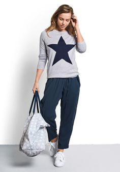 Reversible hush star jumper, crew neck with long sleeves and a contrast oversize star print.