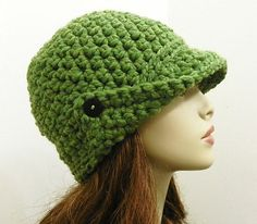 Chunky, winged-brim crochet beanie. Very cute!  Link to Ravelry but looks like pattern is not free.