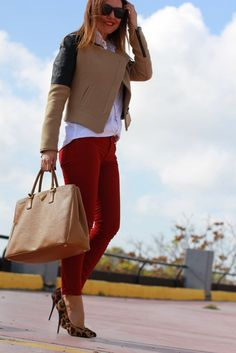 Fall color combos: red and camel have an utterly chic effect together.  Source: Lookbook.nu