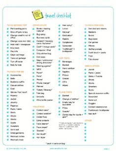 checklist for business travel
