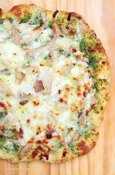 Pesto Chicken Homemade Pizza Recipe - now I can make pizza for my  son, Chris, who can't eat red sauce! | @She Wears Many Hats | Amy Johnson