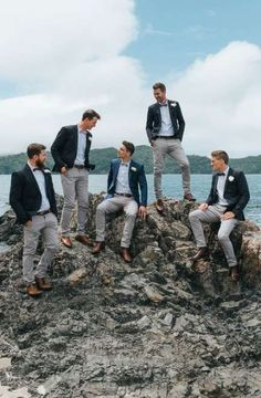 Groomsmen in Grey Chinos & Navy Blazers Outdoor Coastal Wedding at Ohawini Bay in New Zealand with Natural Garden Party Reception Groomsmen Outfits, Groom And Groomsmen Attire, Bridesmaids And Groomsmen, Groomsmen Attire Beach Wedding, Bridesmaid Dresses, Outdoor Wedding Attire, Groom Attire Rustic, Casual Wedding Suit, Wedding Blazers