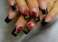 Having short nails is extremely practical. The problem is so many nail art and manicure designs that you'll find online Frensh Nails, Rose Nails, Flower Nails, Acrylic Nails, Manicures, Rose Nail Art, Pastel Nails, Bling Nails, Fabulous Nails