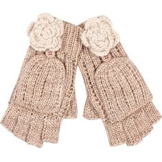 River Island Cream Flower Knitted Mitten Gloves ($20) ❤ liked on Polyvore