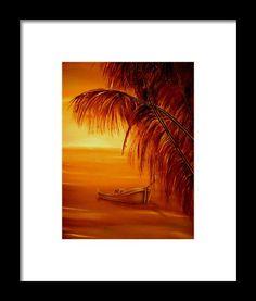 Framed Art Print,  coastal,scene,sunset,sunrise,tropical,boat,palmtrees,nature,seascape,ocean,nautical,marine,island,sea,water,wooden,gold,golden,orange,image,beautiful,fine,oil,painting,contemporary,scenic,modern,virtual,deviant,wall,art,awesome,cool,artistic,artwork,for,sale,home,office,decor,decoration,decorative,items,ideas