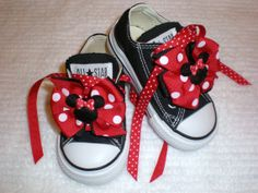 Mini Minnie Mouse Bows and Laces for Shoes by on Etsy . Minie Mouse Party, Minnie Mouse 1st Birthday, Minnie Mouse Theme, Mickey Party, Mickey Mouse Clubhouse, Minnie Mouse Converse, Happy Birthday B, 3rd Birthday Parties, Baby Birthday