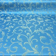 "Turquoise / Gold Damask Jacquard Vine Brocade Fabric 118"" By the Yard"