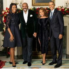 President Barack Obama and First Lady Michelle Obama with Steve and his wife, Marjorie Harvey White House 2016 Michelle Obama Fashion, Michelle And Barack Obama, Black Celebrity Couples, Black Couples, Celebrity Pics, Black Celebrities, Celebs, Couple Noir, Marjorie Harvey
