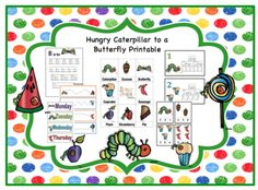 Hungry Caterpillar to a Butterfly Printable from Fun Printables for Preschoolers on TeachersNotebook.com - (27 pages) - Printable: The activities in this pack are designed to have fun while the child learns a variety of preschool concepts including number, color, patterns, sequence, size, letters and more.