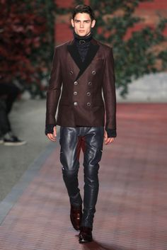 Tommy Hilfiger Men's RTW Fall 2012 - Blue Leather pants and double breasted peacoat