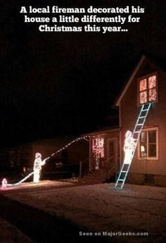Funny pictures about How a fireman decorates for Christmas. Oh, and cool pics about How a fireman decorates for Christmas. Also, How a fireman decorates for Christmas. Funny Christmas Decorations, Christmas Lights, Holiday Lights, Firefighter Humor, Volunteer Firefighter, Firefighter Pictures, Firefighter Career, Firefighter Home Decor, American Firefighter