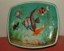 RARE HUNTLEY & PALMERS BISCUITS TIN OCEAN LIFE, TROPICAL FISH, ANGEL FISH C61