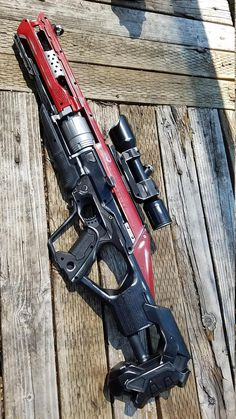 Nerf Repaint Accustrike Alpha-Hawk Black and Red A fully customized nerf gun pai. Zombie Weapons, Sci Fi Weapons, Weapon Concept Art, Weapons Guns, Airsoft Guns, Guns And Ammo, Fantasy Weapons, Zombie Apocalypse, Cosplay Weapons