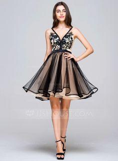 A-Line/Princess V-neck Short/Mini Lace Zipper Up Regular Straps Sleeveless No Black Spring Summer Fall General Tulle Homecoming Dress