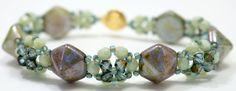 Deb Roberti's FREE Cupola Bracelet pattern uses Czech 2-Hole Beadstuds