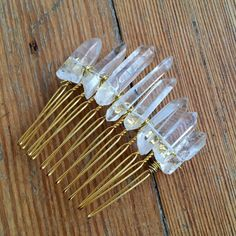Raw Crystal Quartz Comb - Natural Rock Crystal Shards on a Gold Hair Comb - Healing Powerful Beautiful Hair Accessory.
