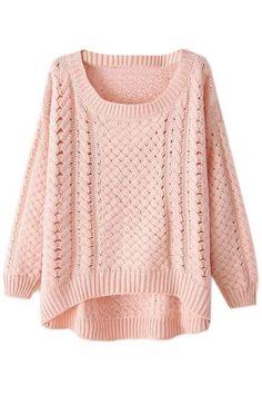ROMWE | Asymmetric Cut-out Pink Jumper, The Latest Street Fashion