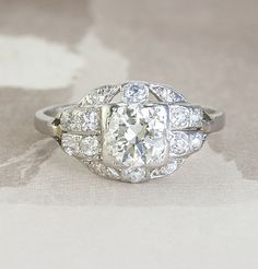 Deco Diamond Cluster Engagement Ring
