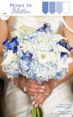 Blue Wedding Bouquet | Petals to Palettes 9 . A gorgeous blue wedding bouquet by TwinBrook Florist and captured by Lisa Boggs Photography.