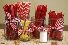 Gingham (Red & White) Table Decor - Jars, Red & White Utensils, red and white striped straws, gingham ribbon