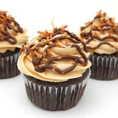 Samoas Cupcakes  YUM! The chocolate (base) cupcake recipe here is wonderful (and easy)!!