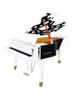 Vue 3/4 du piano Pleyel d'artiste Aki Kuroda.