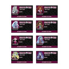 Monster High ID Card Party Favors