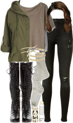 A fashion look from November 2015 featuring hooded jacket, high-waisted jeans and knee high socks. Browse and shop related looks. School Looks, Oufits Casual, Cute Casual Outfits, Girls Fashion Clothes, Fashion Outfits, Teen Wolf Outfits, Winter Dress Outfits, Outfit Winter, Boating Outfit