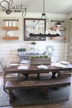 Dining Room decor ideas - rustic farmstyle bench seating, dark bronze candelabra, barn wood chair rail   Shanty 2 Chic