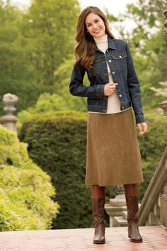 Jean jacket & suede skirt suede skirt, beige skirt, dressy skirts, a Modest Dresses, Modest Outfits, Modest Fashion, Fall Outfits, Casual Outfits, Fashion Outfits, Boot Outfits, Denim Outfits, Casual Jeans