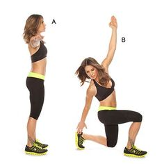 twisting lunge with heel tap: Jillian Michaels' workout
