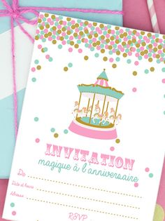 Invitation anniversaire fête foraine à imprimer Magic Birthday, Girl Birthday, Happy Birthday, Birthday Parties, Invitation Fete, Party Invitations, Event Themes, Party Themes, New Year Card
