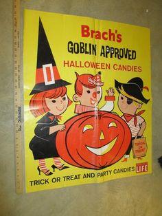 Brach's 1950s Halloween Candy Store Display Sign Cartoon Goblin Kids Witch 1 | eBay