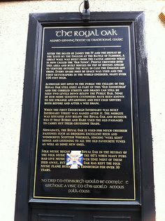 Edinburgh Pubs | Flickr - Photo Sharing! Information board at the Royal Oak, Infirmary Street, Edinburgh - starting point for Rebus Tours as well as home to Folk Music sessions.